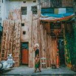 Bamboo street in Old Quareter Hanoi Vietnam