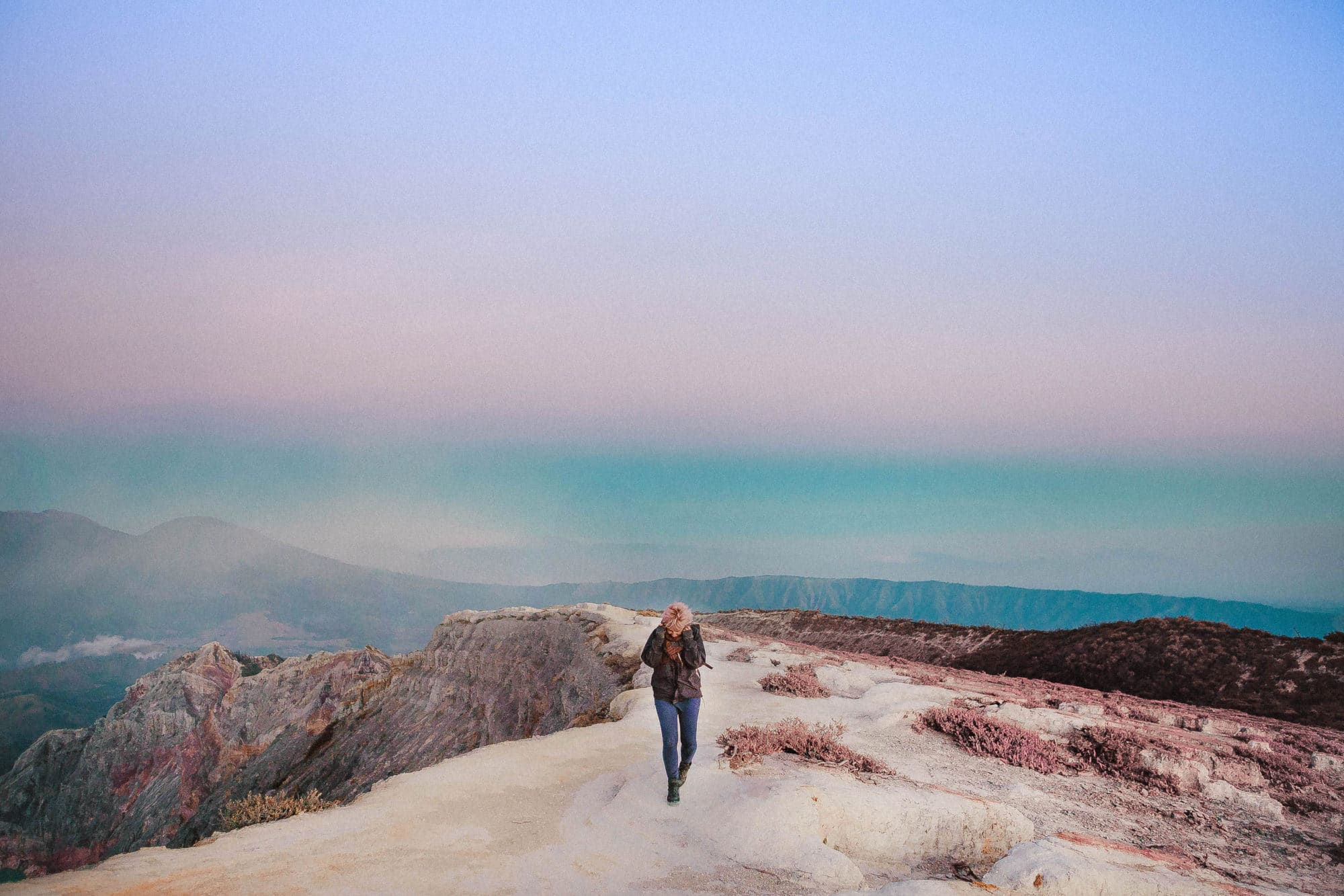 kawah ijen indonesia walking on the moon landscape beautiful nature sunrise tour pink sky pastels