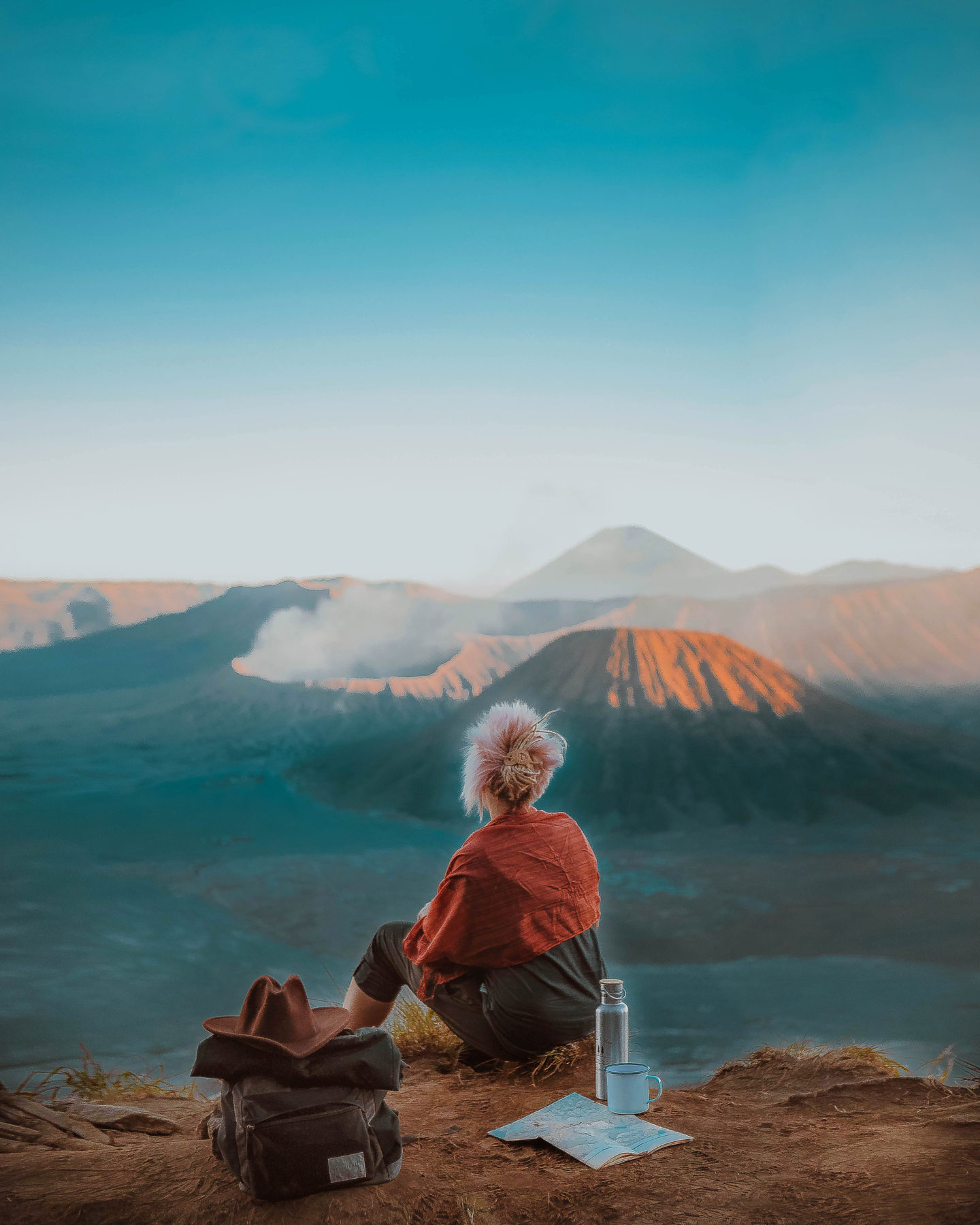 hiking volcano mount bromo summit viewpoint indonesia east java highlight mountains blue sky
