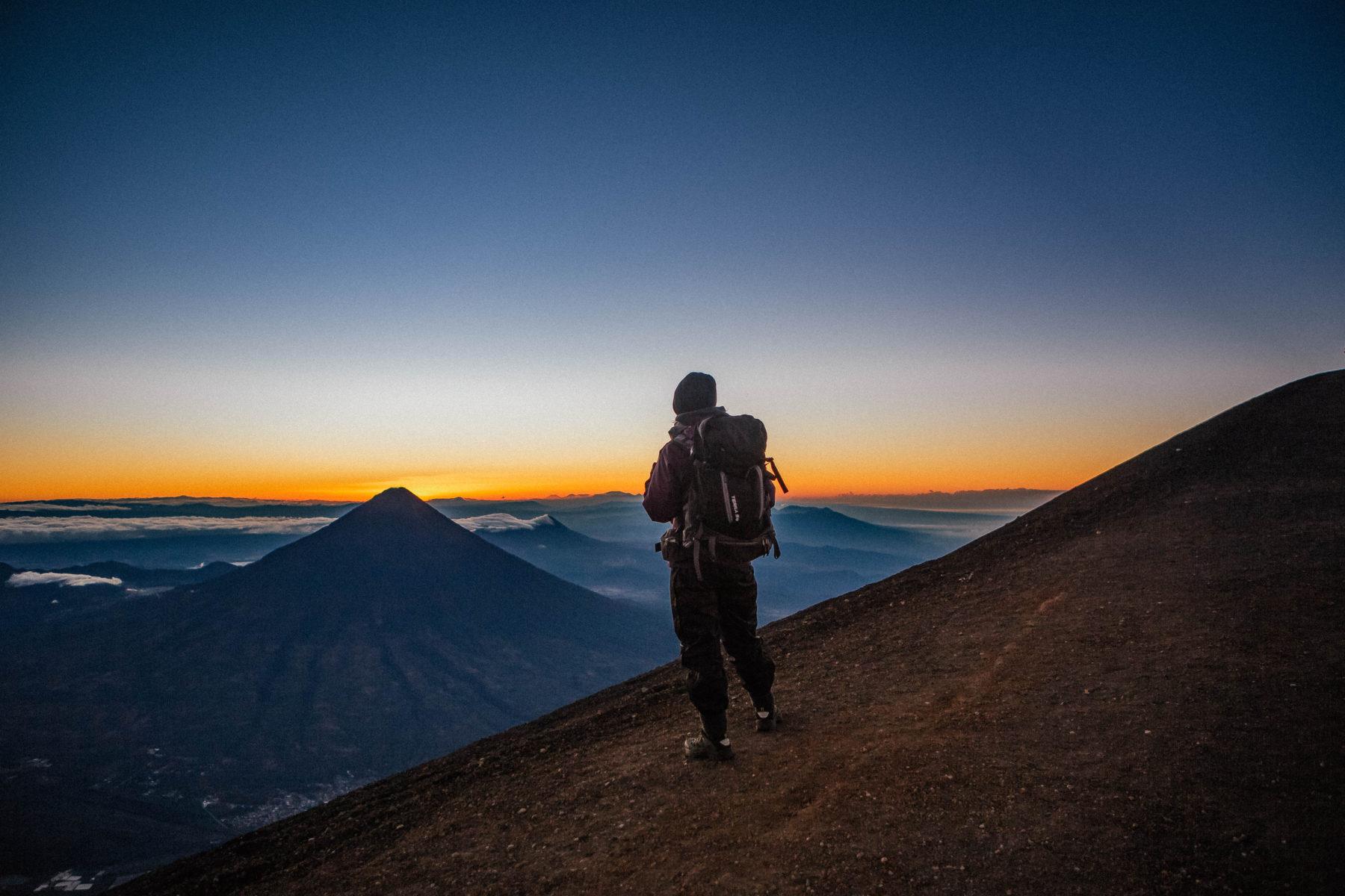 volcano acatenango sunrise tour guatemala central america adventure orange sky