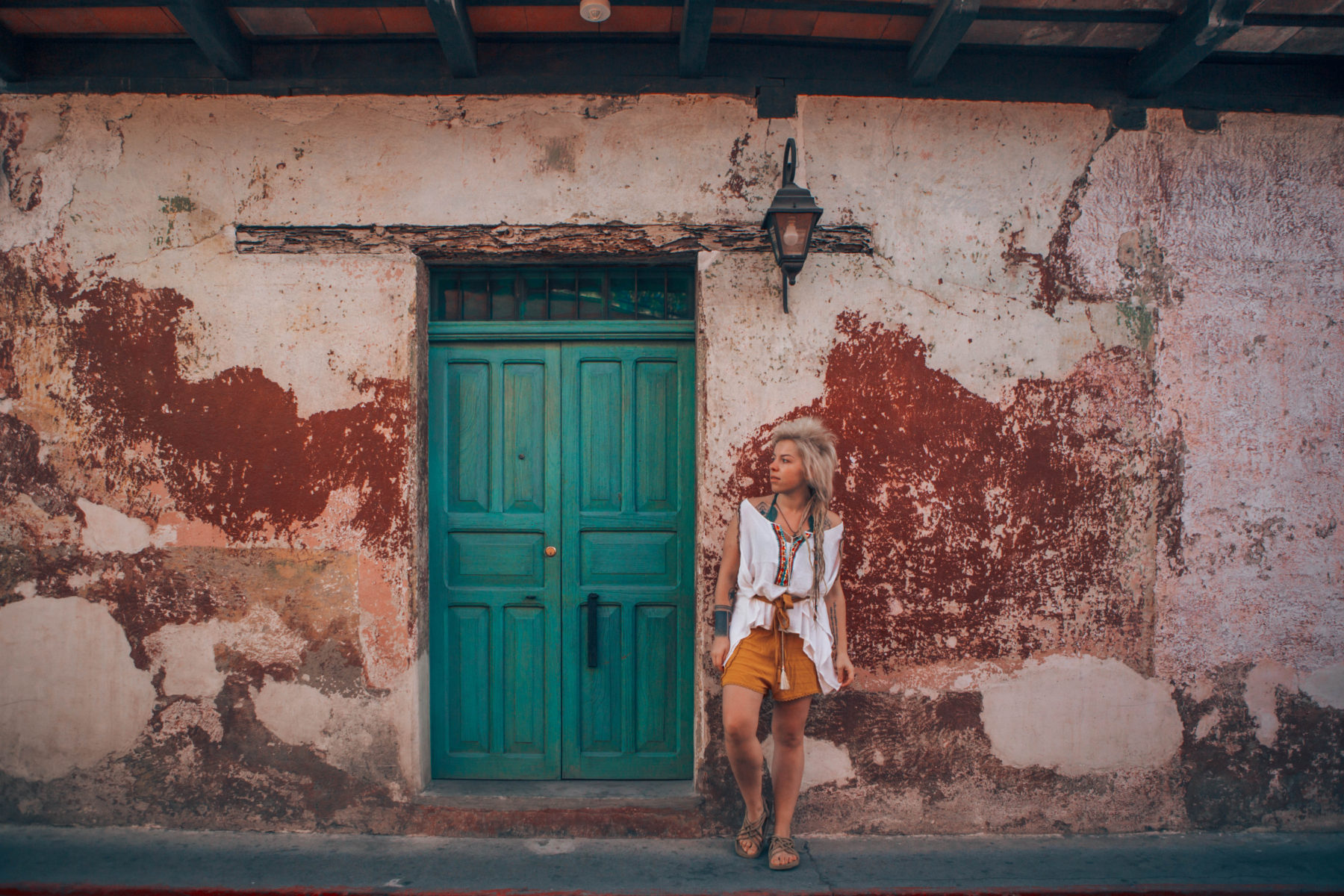 antigua guatemala colourful colonian central america local people volcano streets