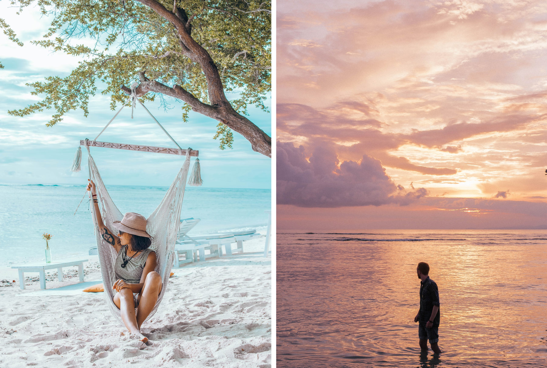 friendship pink sky sunset beach gili islands indonesia hammock blue sky