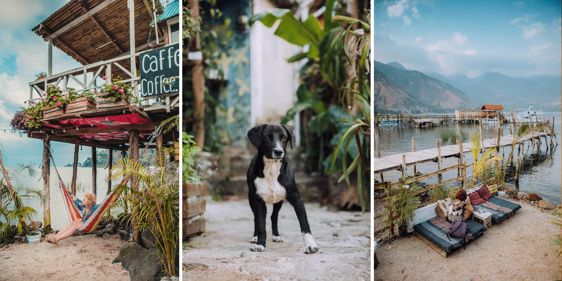 guatemala lake atitlan lago central america most beautiful lake in the world blue water sunny day street dogs puppie deck san juan la laguna
