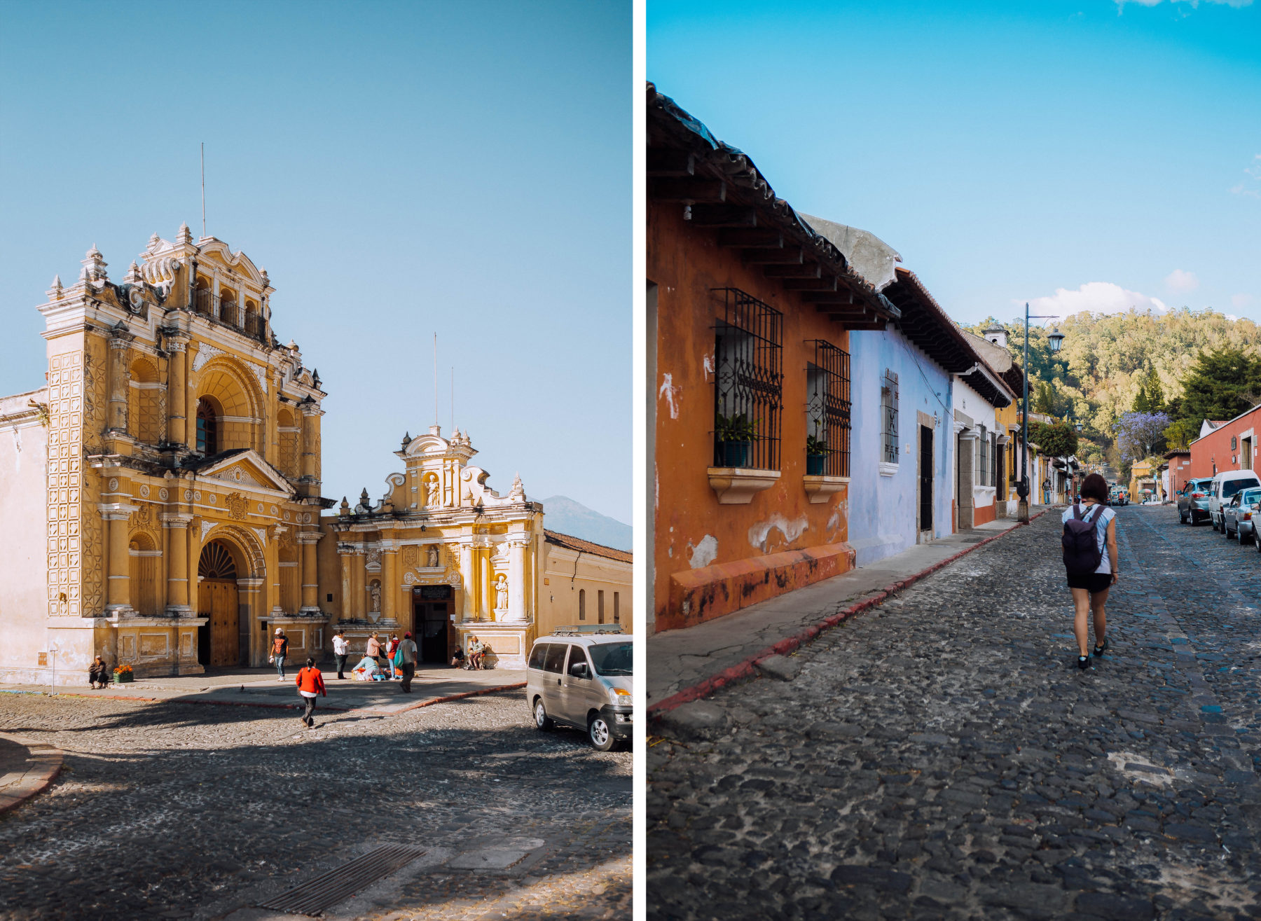 antigua guatemala colourful colonian central america local people volcano streets houses culture kids smiling fruit vendors
