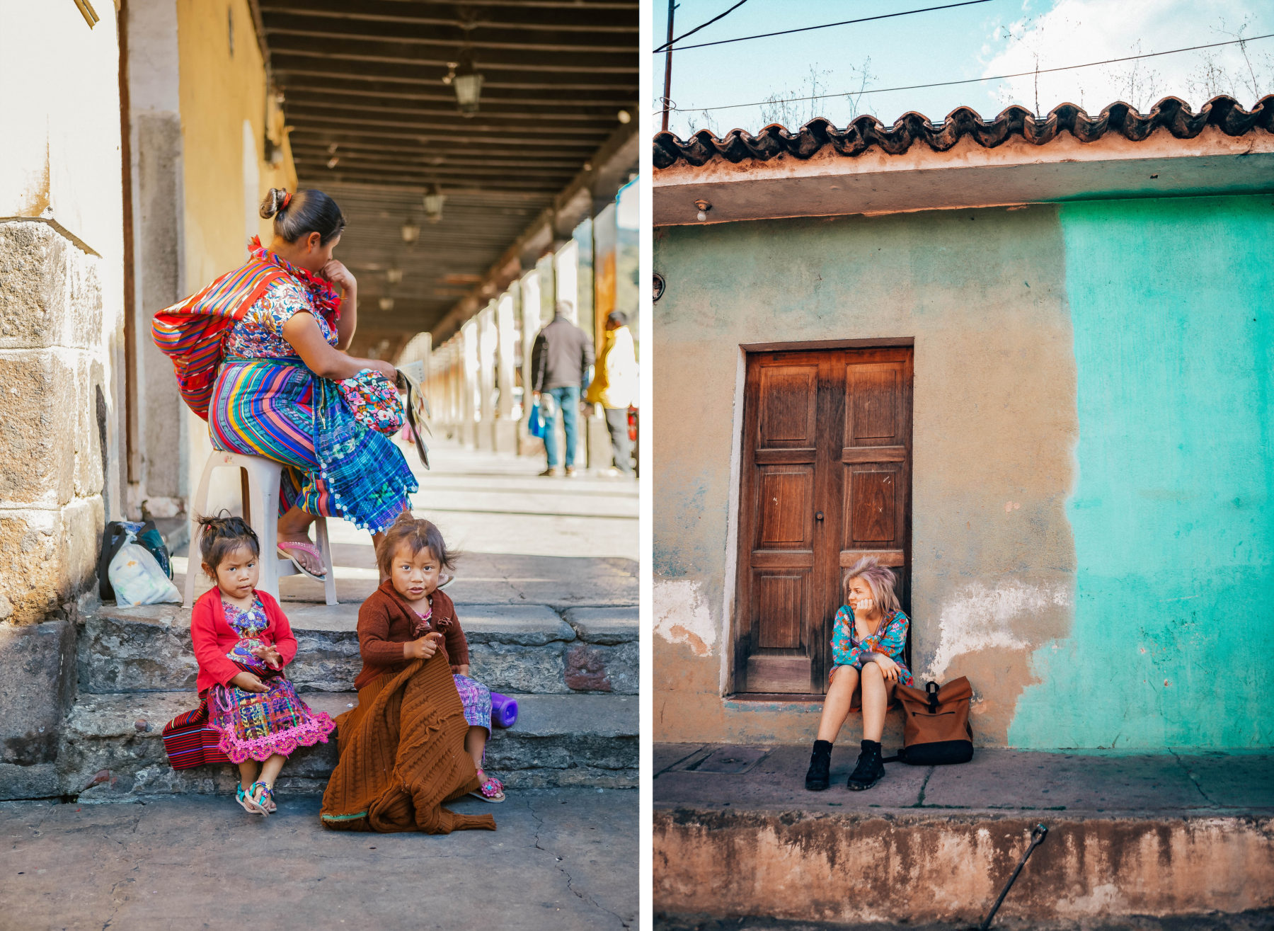 antigua guatemala colourful colonian central america local people volcano streets houses culture kids smiling fruit vendors kids