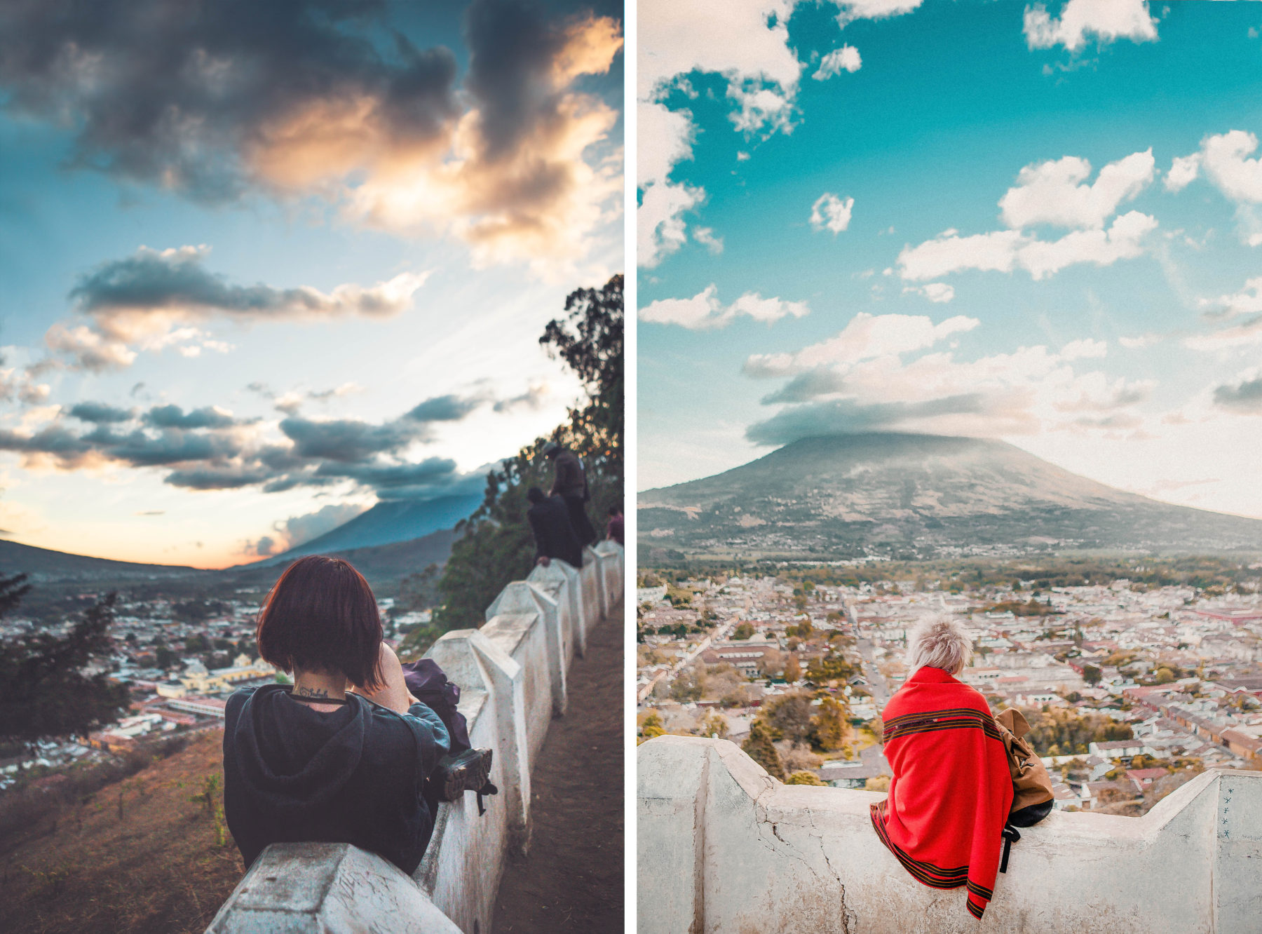 antigua guatemala colourful colonian central america local people volcano streets view from top cerro de la cruz