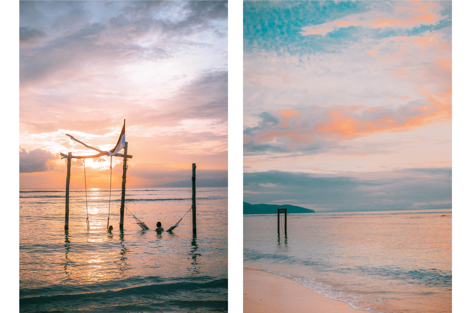 gili islands cotton candy sky water blue colourful sunset hammocks in water indonesia