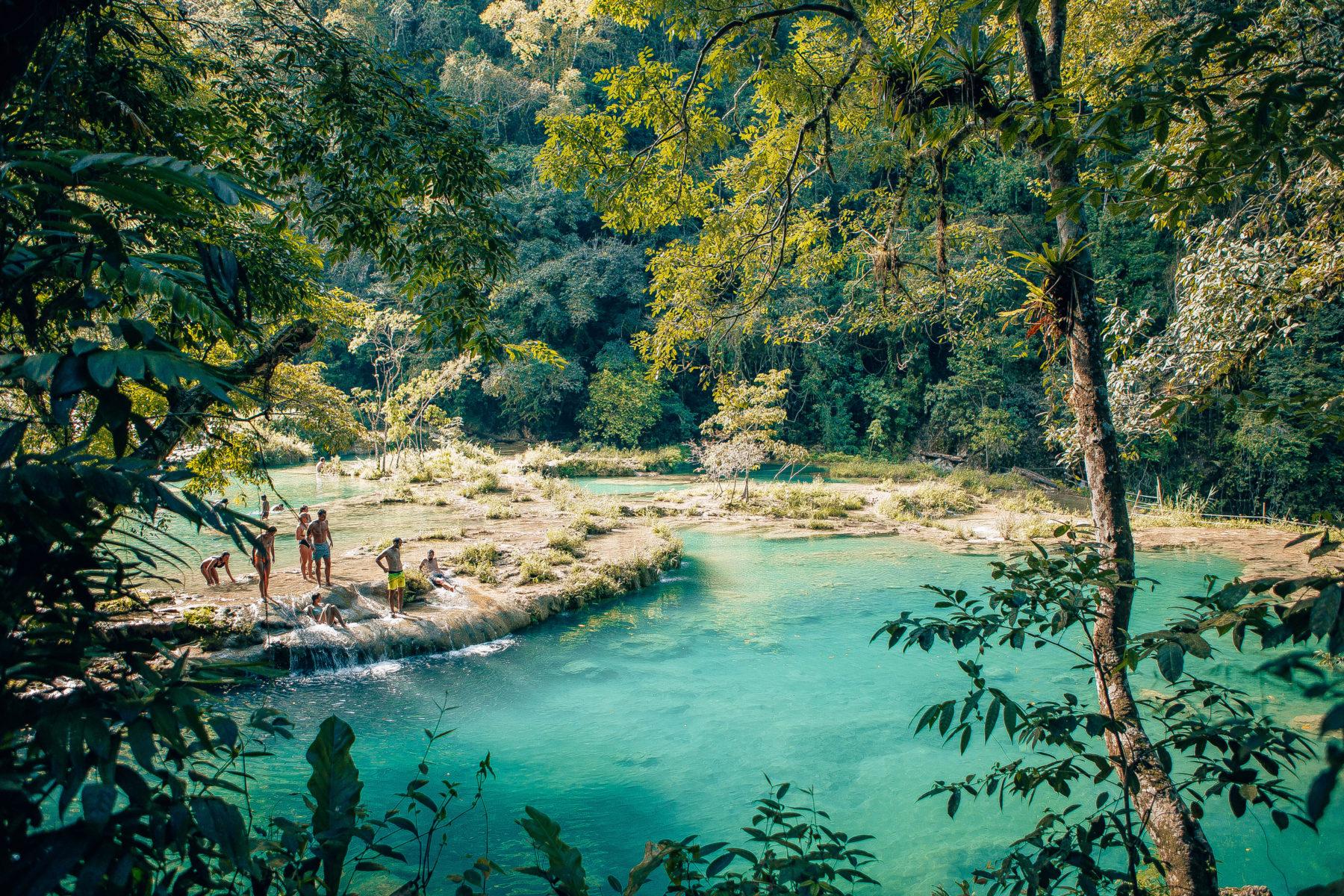 guatemala semuc champey turquoise pools jungle green humid swim adventure far away hidden paradise el retiro lodge in the jungle cacao pure natural pools
